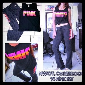 NWOT, vs pink ombre logo sweat set